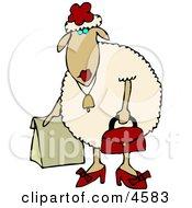 Anthropomorphic Female Sheep Ewe Shopping Clipart