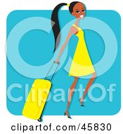 Royalty Free RF Clipart Illustration Of A Young And Pretty Black Woman Pulling A Rolling Suitcase