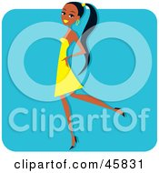 Royalty Free RF Clipart Illustration Of A Young Black Woman Strutting In A Yellow Dress