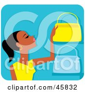 Royalty Free RF Clipart Illustration Of A Black Woman Shopping For Purses by Monica