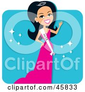 Royalty Free RF Clipart Illustration Of A Hispanic Beauty Pageant Contestant Wearing A Sash And A Pink Evening Gown by Monica #COLLC45833-0132