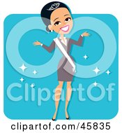 Royalty Free RF Clipart Illustration Of A Hispanic Beauty Contest Winner Wearing A Tiara And Sash by Monica
