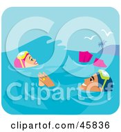 Royalty Free RF Clipart Illustration Of A Relaxed Couple Floating In The Water While Scuba Diving On Their Honeymoon