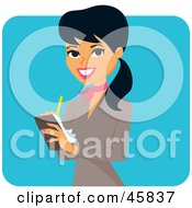 Royalty Free RF Clipart Illustration Of A Pretty Hispanic Businesswoman Writing Notes On A Pad by Monica