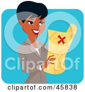Royalty Free RF Clipart Illustration Of A Pretty Black Businesswoman Holding A Treasure Map by Monica