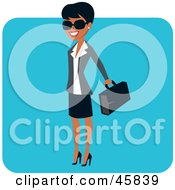 Royalty Free RF Clipart Illustration Of A Successful Black Businesswoman Carrying A Briefcase by Monica