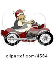 Anthropomorphic Sheep Riding A Motorcycle Clipart