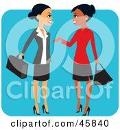 Royalty Free RF Clipart Illustration Of Pretty Hispanic And Black Business Women Chatting