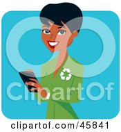 Royalty Free RF Clipart Illustration Of A Pretty Black Female Ecologist Wearing A Green Suit by Monica