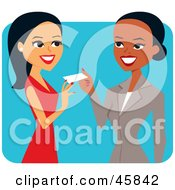 Royalty Free RF Clipart Illustration Of A Friendly Black Businesswoman Giving Her Card To A Potential Client by Monica