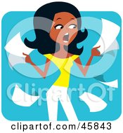 Royalty Free RF Clipart Illustration Of A Stressed Out Black Woman Holding Paperwork by Monica #COLLC45843-0132
