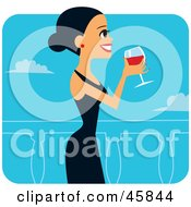 Hispanic Woman In A Black Dress Sipping Red Wine