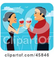 Royalty Free RF Clipart Illustration Of A Romantic Couple Toasting With Red Wine On Their Honeymoon by Monica