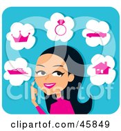 Royalty Free RF Clipart Illustration Of A Pretty Hispanic Woman Planning Her Future