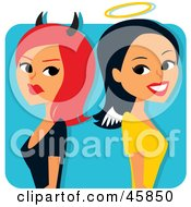 Royalty Free RF Clipart Illustration Of A Red Haired She Devil Standing Back To Back With An Angelic Woman