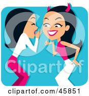 Royalty Free RF Clipart Illustration Of A Woman Whispering Rumors To A She Devil by Monica