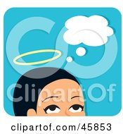 Royalty Free RF Clipart Illustration Of An Angelic Woman Thinking Good Thoughts