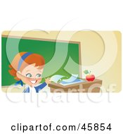 Royalty Free RF Clipart Illustration Of A Responsible School Girl Turning In Her Homework On Her Teachers Desk