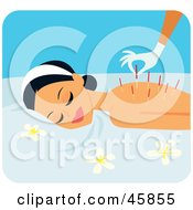 Royalty Free RF Clipart Illustration Of A Relaxed Woman Getting Acupuncture Needles Inserted In Her Back by Monica #COLLC45855-0132