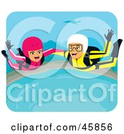 Royalty Free RF Clipart Illustration Of A Couple Screaming While Skydiving On Their Honeymoon