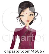 Royalty Free RF Clipart Illustration Of A Bollywood Indian In A Red Dress And Bindi
