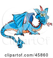 Royalty Free RF Clipart Illustration Of A Blue And Orange Dragon With A Red Horn by Dennis Holmes Designs