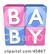 Royalty Free RF Clipart Illustration Of Pink And Blue 3d Alphabet Blocks Spelling Out BABY by ShazamImages