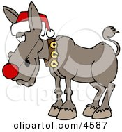 Red Nosed Donkey Wearing Christmas Santa Hat Clipart by Dennis Cox