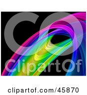 Royalty Free RF Clipart Illustration Of A Colorful Rainbow Fractal Curve On Black by ShazamImages