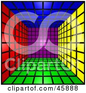 Royalty Free RF Clipart Illustration Of A 3d Cubic Interior Of Colorful Squares by ShazamImages