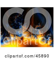 Blue And Orange Fractal Background Of Gasses Flames And Heat On Black