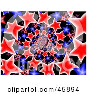 Spiral Background Of Red White And Blue American Stars On Black
