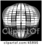Royalty Free RF Clipart Illustration Of A Reflective Tiled Silver Mirror Disco Ball On Black by ShazamImages