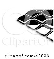 Royalty Free RF Clipart Illustration Of An Abstract Background Of Shiny Black Tiles With Shading On White