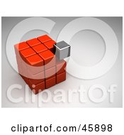 Royalty Free RF Clipart Illustration Of A Misfit Chrome Block Settling Into A Red Puzzle Cube