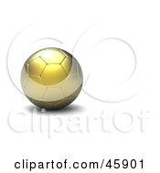 Royalty Free RF Clipart Illustration Of A Still Golden 3d Soccer Ball by chrisroll