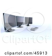 Royalty Free RF Clipart Illustration Of A Keyboard Resting At A Workstation With Three Computer Screens by chrisroll