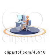 Royalty Free RF Clipart Illustration Of An Orange Man Typing And Sitting At His Office Work Station by chrisroll