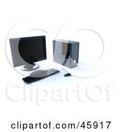 Royalty Free RF Clipart Illustration Of A Modern Computer Work Station With A Tower Keyboard Mouse And Monitor by chrisroll