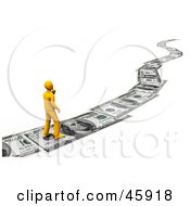 Royalty Free RF Clipart Illustration Of An Orange Man Walking On A Path Of Banknotes Symbolizing Debt Investing And Wealth by chrisroll