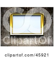 Royalty Free RF Clipart Illustration Of A Blank Golden Frame Mounted On A Grungy Cement Wall
