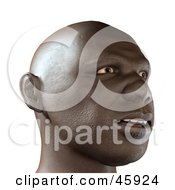 Realistic 3d Render Of An African Mans Face With An Amazed Expression
