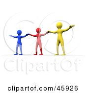 Royalty Free RF Clipart Illustration Of A Three Diverse Colorful People Holding Their Arms Out To Each Other