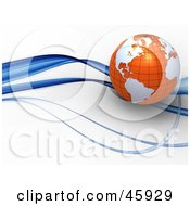 Royalty Free RF Clipart Illustration Of A 3d Globe With Orange Oceans And White Continents Riding On A Blue Wave