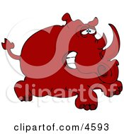 Red Rhinoceros Clipart