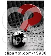 Royalty Free RF Clipart Illustration Of A Red 3d Question Mark Above A Black And White Globe On A Chrome Background by chrisroll