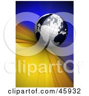 Royalty Free RF Clipart Illustration Of A Black And White 3d Globe Rushing Forward On A Blue And Yellow Background by chrisroll