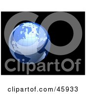 Royalty Free RF Clipart Illustration Of A Blue Shiny 3d Grid Globe On A Black Background