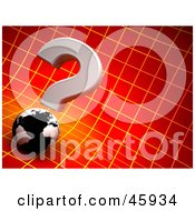 Royalty Free RF Clipart Illustration Of A 3d Question Mark Above A Globe On A Red Grid Background by chrisroll