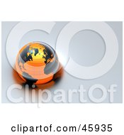 Royalty Free RF Clipart Illustration Of A Shiny 3d Globe With Black Continents And Orange Oceans Floating On Gray Water